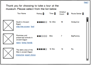 Wireframe of Tour Selection Page